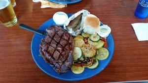 Ribeye Steak, Bake patato and veggies