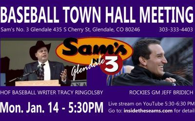 Baseball Town Hall with Rockies GM Jeff Bridich, Monday January 14th 5:30pm!